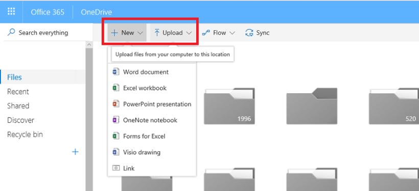 OneDrive Files ekranas